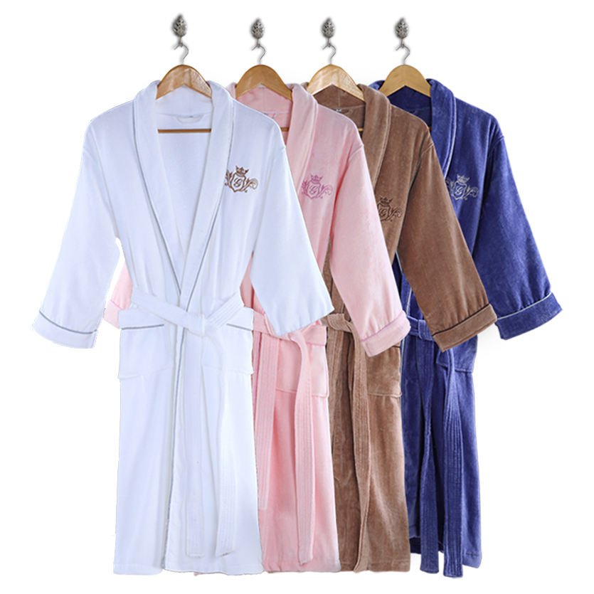 Custom Logo Super Soft Shawl Collar Men and Women Hotel Branded Velour Bathrobe