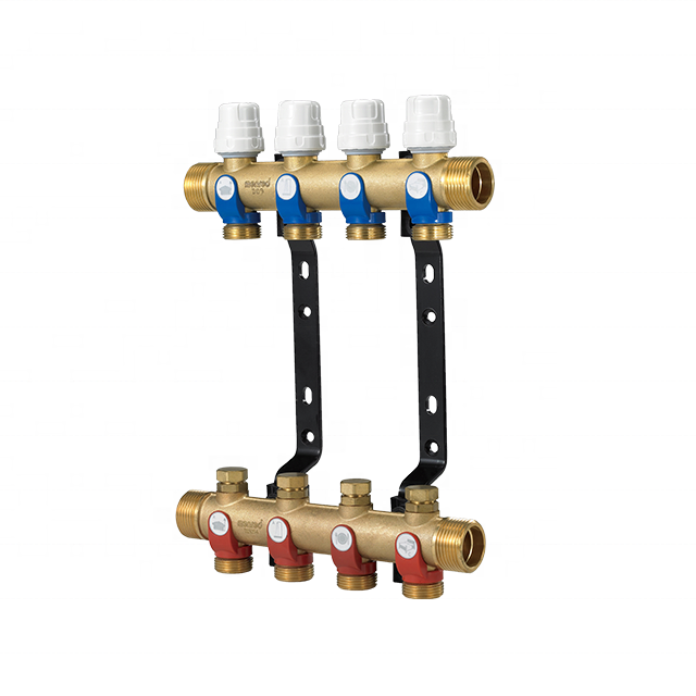 Menred PEX tubing brass underfloor heating manifolds with compatible outlets for hydronic radiant floor heating A7.N