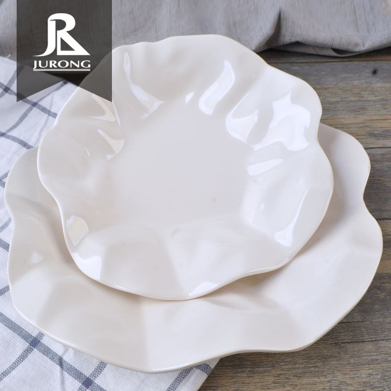 Chaozhou factory wholesale white flower ware melamine plastic plates dinner