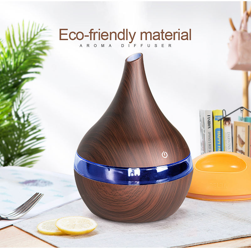 XBH-041 300ml USB Electric Aroma Diffuser Essential Oil Mist Maker For Home 7 Colors Led Lights Wood Ultrasonic Air Humidifier