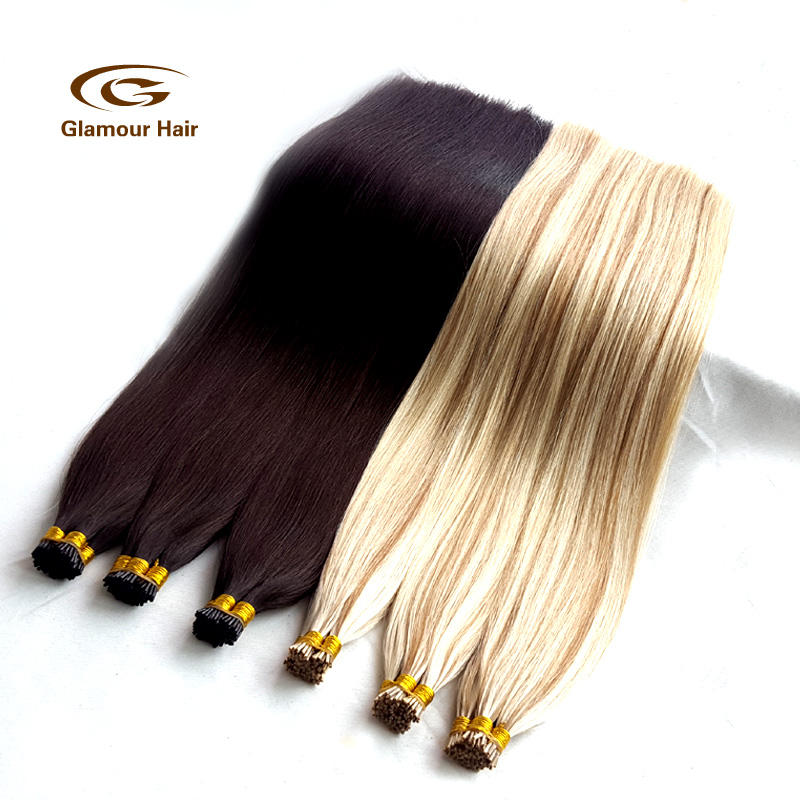 Silky straight russian human hair stick tip extension i tip