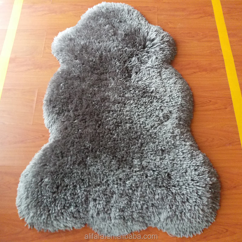 Polyester wool looking shaggy rug grey sheepskin carpet