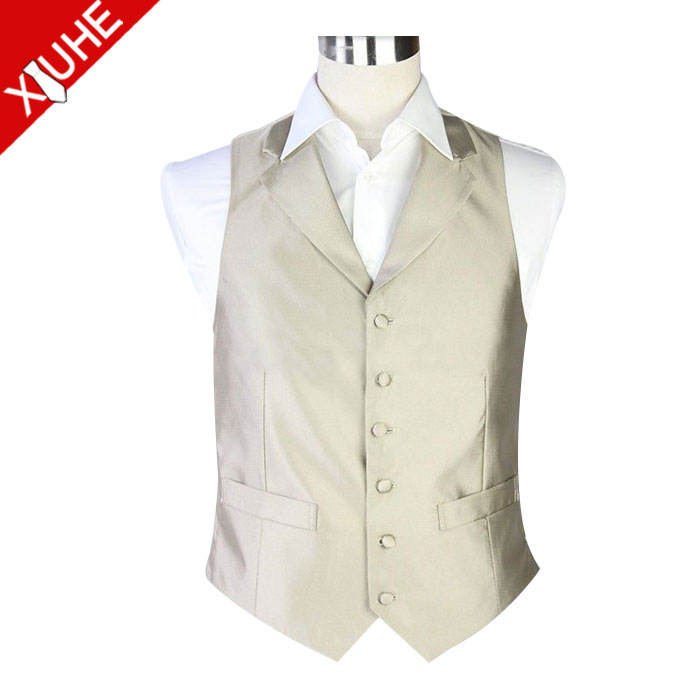 polyester formal mens designer polyester gold lapel waiter's waistcoat