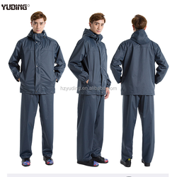 rain wear trousers jackets rain coat set with fixed hood for