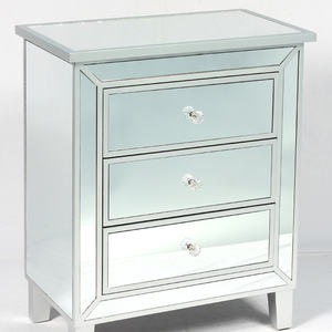 3 Drawers Mirrored Bedroom Nightstand/Cabinet, Modern Storage Chest with Drawers