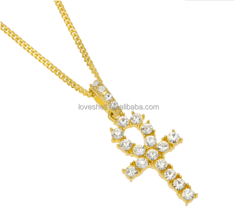 bling jewelry hiphop crystal solitaire cz Ankh Cross Pendant for mens jewelry