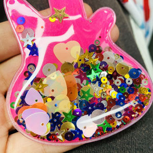 Custom Sequin Filled Heart Appliques Patch with Multi-Color Glitter for Clothing
