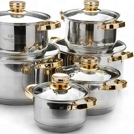 304 stainless steel multifunctional cooking pot milk pot cookware kitchenware cook ware set with golden Glass lid