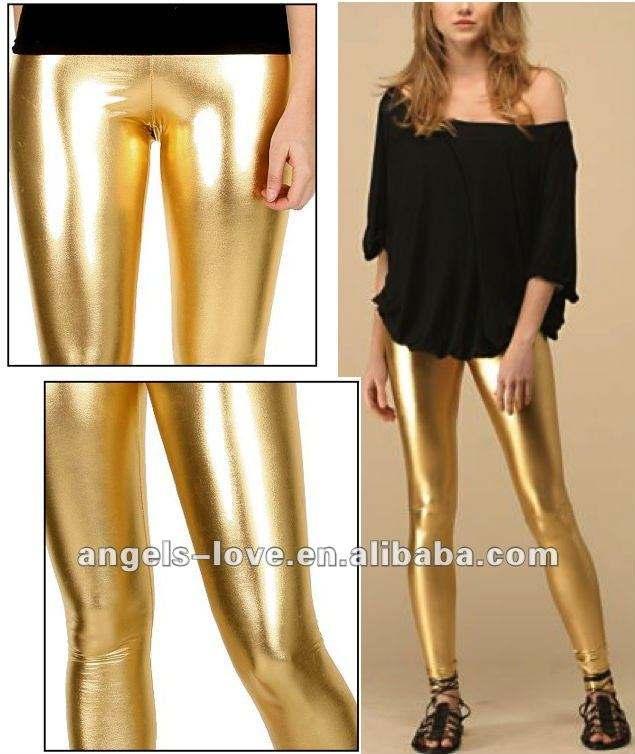 fashion hotsale Ladies wet look shiny gold leather Leggings