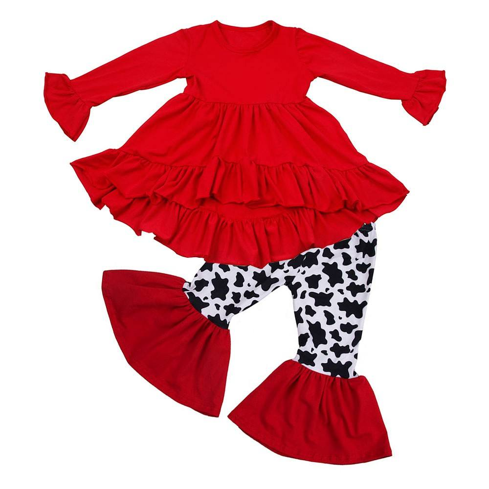 Children Winter Clothing Sets Baby Girls Cow Pants Sets With Tops