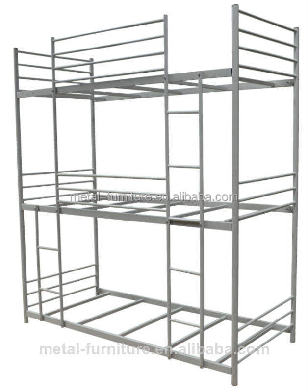 Latest Design Hotel School Dorm Metal 3 person Bunk Bed With Storage cabinet