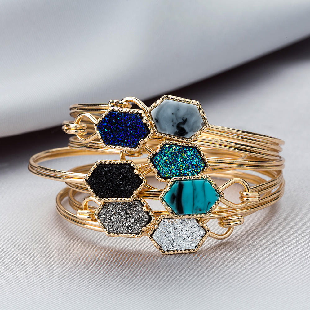 14 Colors Can Open Gold Filled Hexagon Druzy Quartz Bangles & Bracelets Women Mother Gift Brand Jewelry