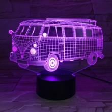 Promotional Gift Idea 7/16 Color Changing Personalized Bus Design 3D LED Night Light USB Battery Powered Home Decor Lamp