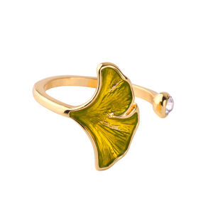 jz0018d New Design Gold Enamel Yellow Green Crystal Gingkgo Open Ring