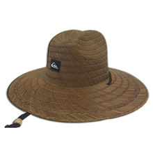 Brown Dyed Logo Mat Grass Lifeguard Straw Hat