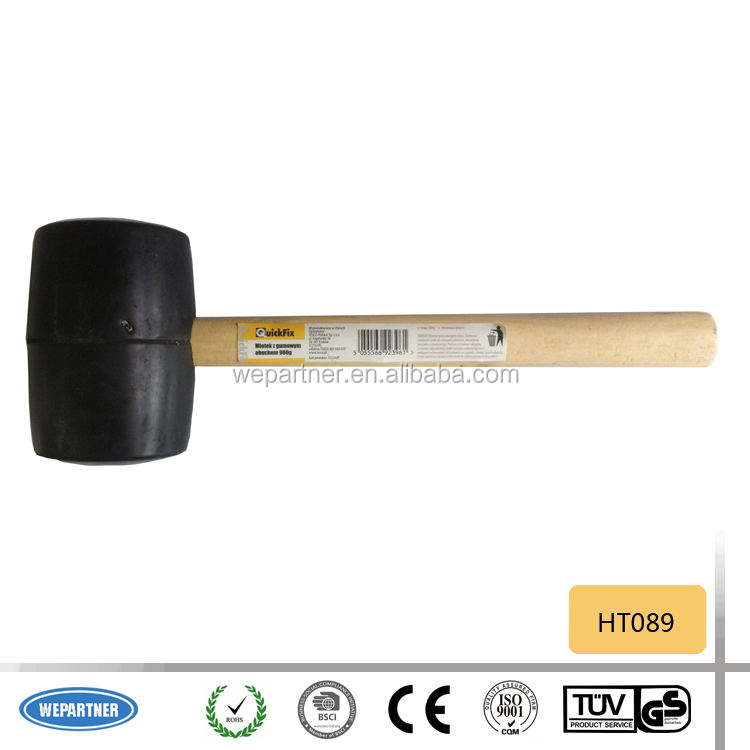 HT089 high efficiency wood handle rubber mallet, black rubber mallet with steel handle Rubber Hammer