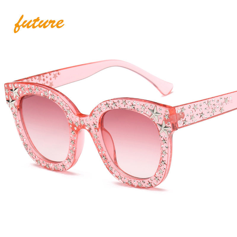 Oversized lady Pentagram Sunglasses Retro Square Women Star Five-pointed Shades CE KD5700