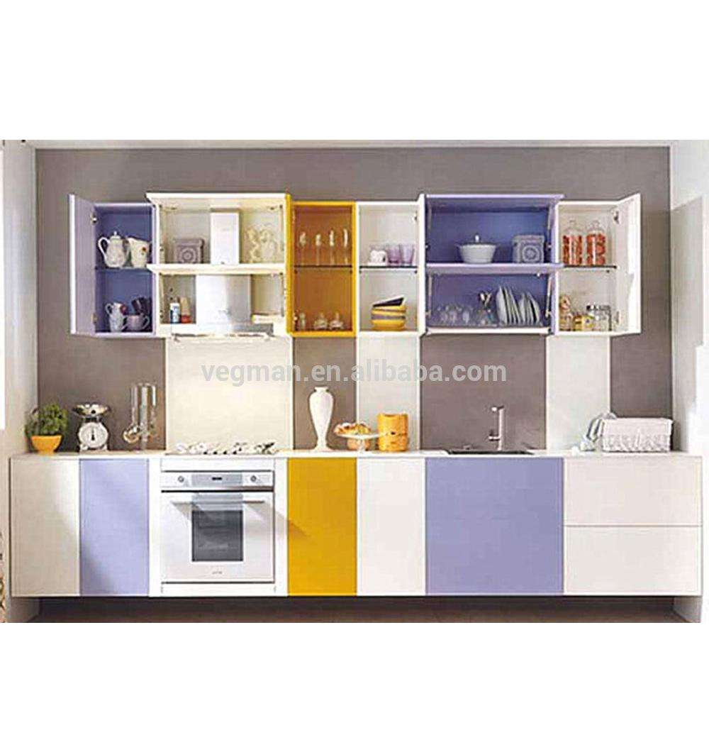 Small design kitchens and kitchen furniture used coloful door panel
