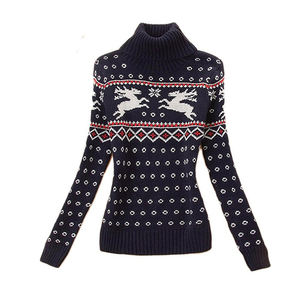 Cute Turtle Neck Sweater Women Knitted Sweater Long Sleeve Cotton Jacquard Sweater Pullover Custom