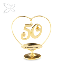 Crystocraft Gold Plated Love Heart 50 Presents with Crystals from Swarovski Personalised Happy Wedding 50th Anniversary Gifts
