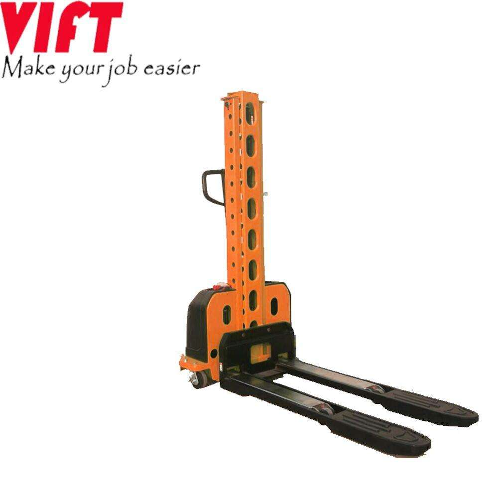 Small Capacity 500kg 1100mm 1300mm Semi Portable Self Loading Pallet Lifting Self Lift Stacker
