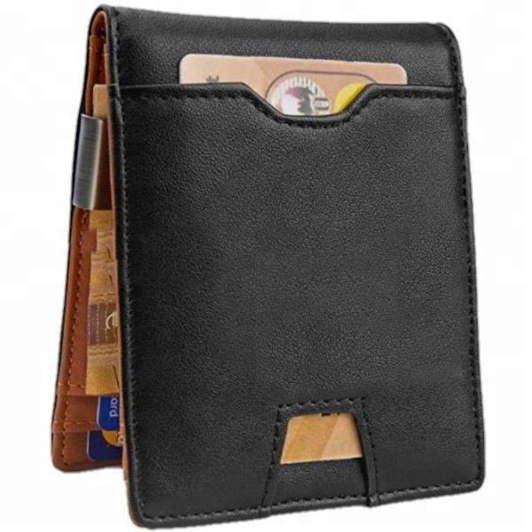 2020 JUHE Gift Travel Custom money clip RFID Genuine Leather mens Wallet Slim Wallet with coin slot