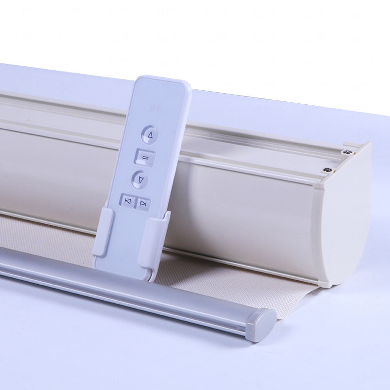 Electric motorized google alexa wifi control 12v motor sun and blackout double blind roller window blinds