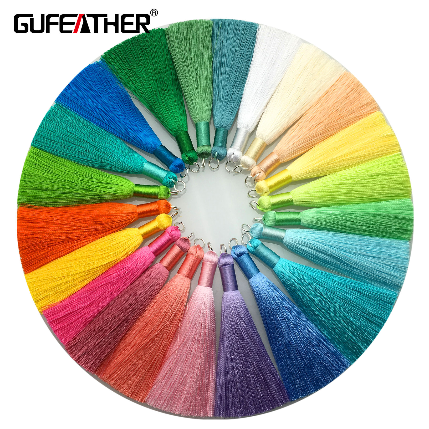 GUFEATHER L63 Silver Ring Decoration Colorful Long Silk Tassels For Jewelry Accessories