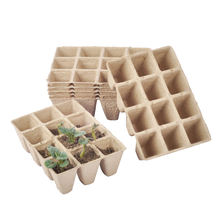 VERTAK 10pcs paper Peat Pot Trays 3x4 cups pulp nursery pots for Plant Starters Seedlings and Growing