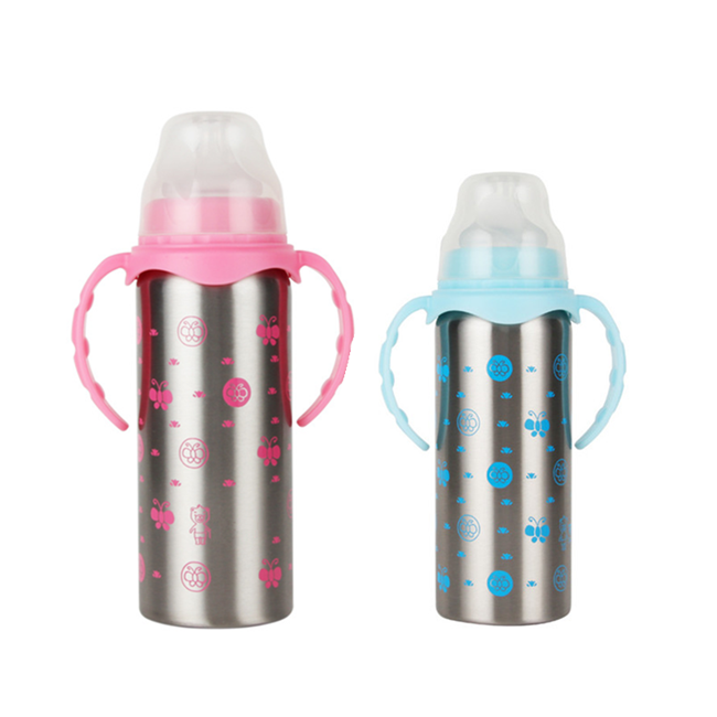180ml /240ml stainless steel double wall baby drinking water bottle feeding tumblers with handle and straws