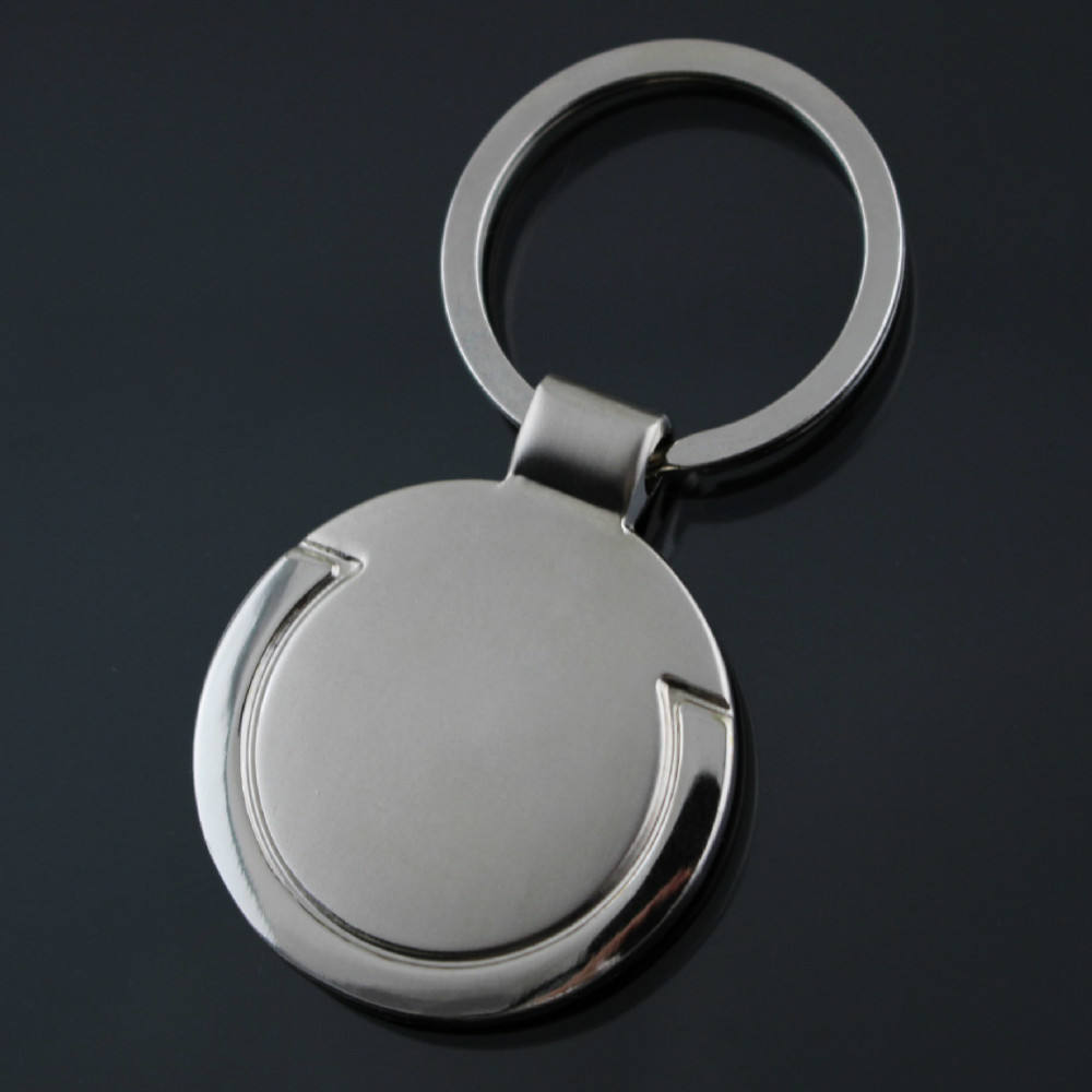 Custom Logo Personalized Round Shape car brand metal key chain ring holder, promotion stainless steel blank keychain keyring