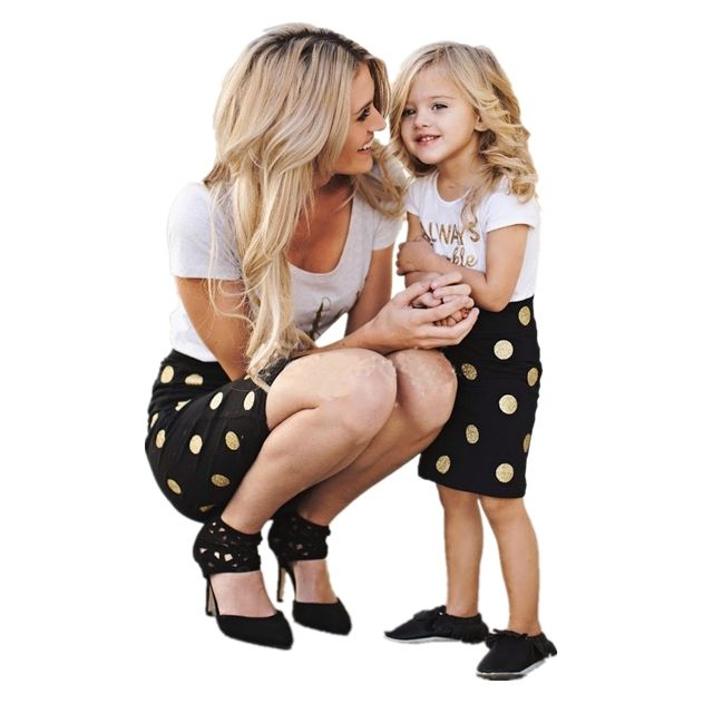 Hot Sale Western Mom And Daughter 100% Cotton T-shirt Suit Family Matching Clothing