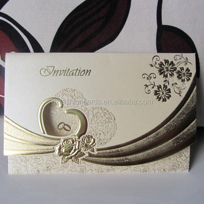 Best Selling Ivory and Gold Cheapest Special Ideal Products Wedding Cards