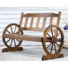 Outdoor Garden Wooden Furniture Set Wheel Table and Benches