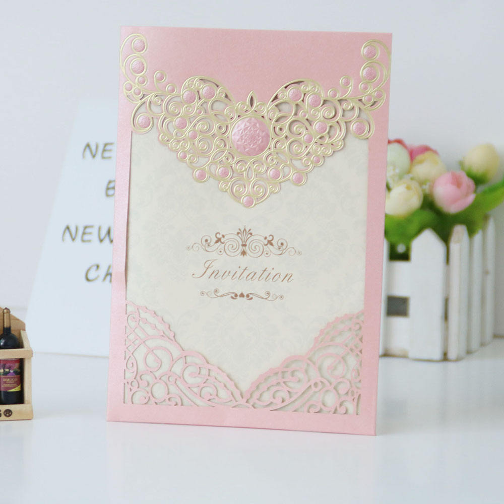 Best colorful laser cut gilding pearl paper craft cards wedding design wedding card