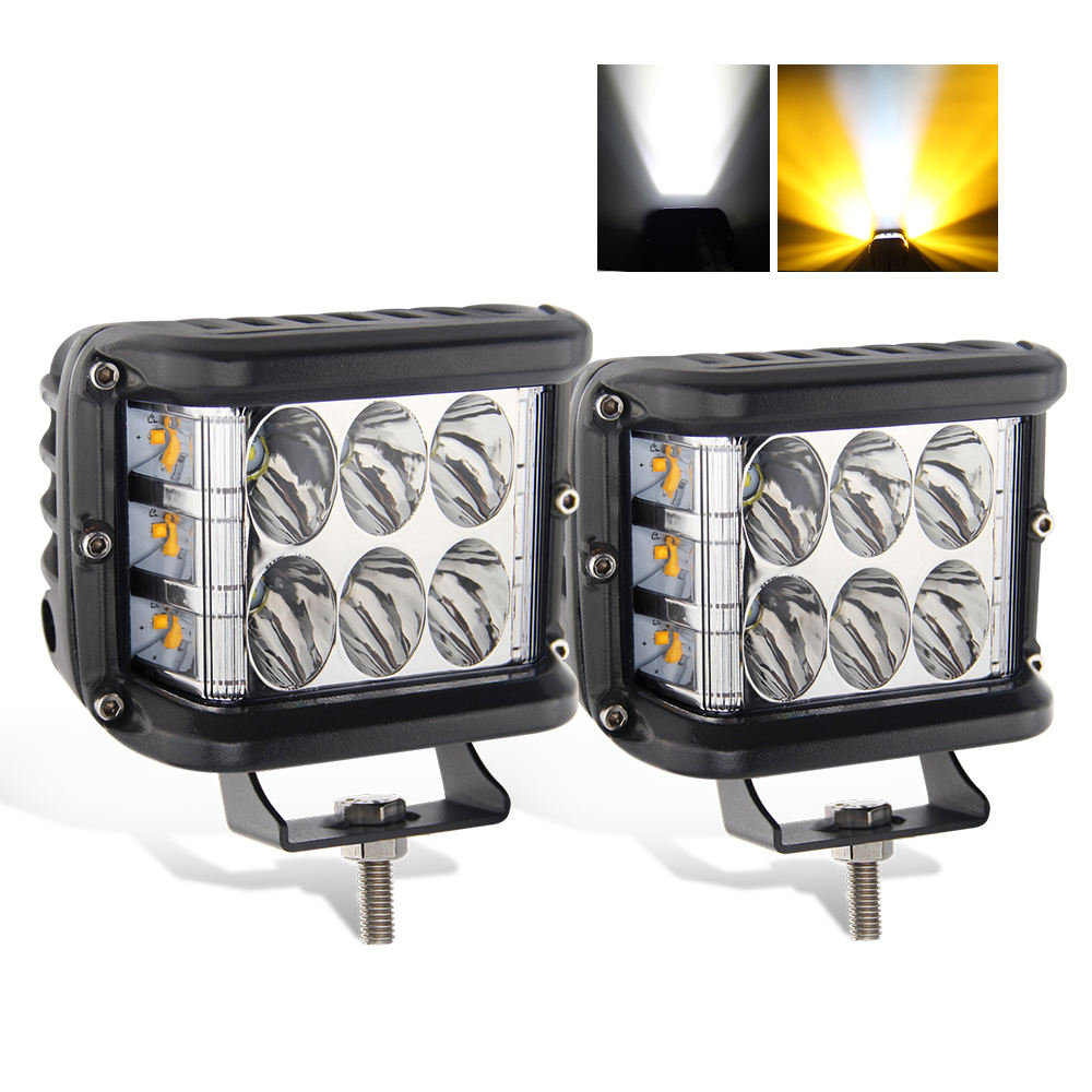 Trucks Working Lamp Dual Colors 45W Led Tractor Side Shooter Square 12V Led Strobe Work Light