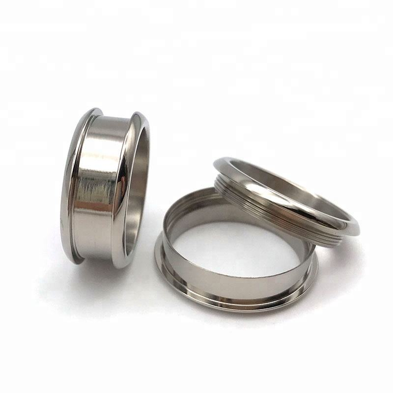Shenzhen Jewelry Factory Custom Wood Crafts 8mm 2 Pieces Titanium blank ring for Inlay with Screw