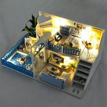 wooden miniature diy doll house kit with light dollhouse in furniture toys