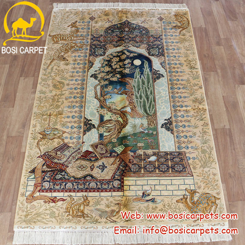 Henan Bosi 4'x6' China Pure Silk Raw Materials Handwoven Persian Rugs Vintage Afghan Handmade Silk Tapestry