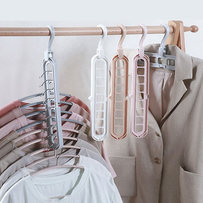 Best Selling Home Folding Magic Creative Clothes Rack Multifunctional Plastic Nine-Hole Hanger