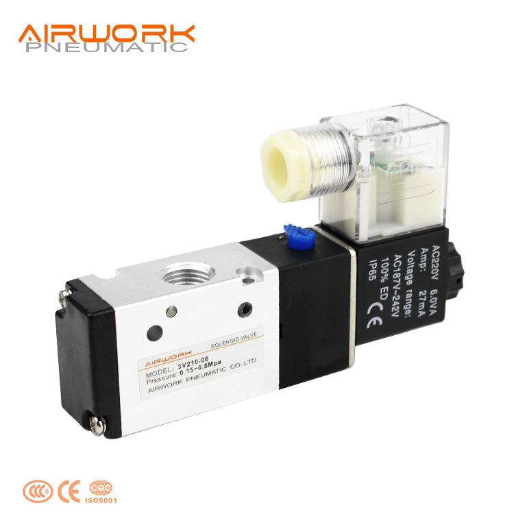 3v210-08 3 2 way 3-way pneumatic electric actuator control solenoid valve operation 12v 24v dc