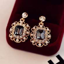 Korean Women's Jewelry Pearls Vintage Fashion Square rhinestone hoop Stud Earrings custom wholesale women