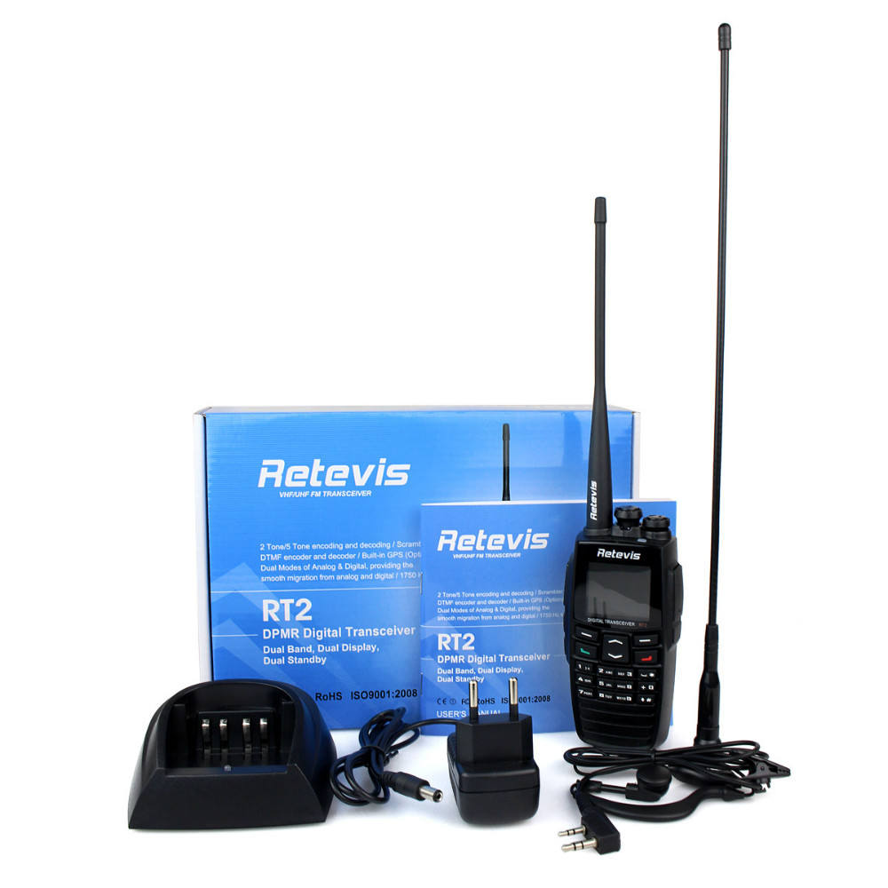 Neue schwarze dpmr digitaler walkie-talkie retevis rt2 <span class=keywords><strong>vhf</strong></span>+uhf 136- 174+400- 470 mhz 5w 256ch vox scan digitalen dual- band zweiwegradio