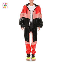Latest Design Color Block Faux Leather Oversize Cotton Jacket With Pockets