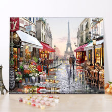 CHENISTORY DZ99009 Painting By Numbers Canvas Paris Flower Street framed oil paintings for wholesale with dropshipping