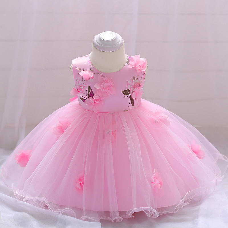 Hao Baby Girl Flower Lace Dress Baby Birthday Party Wedding Princess Dress Baby Frocks Designs for 18 month -2 years