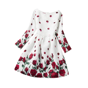 Winter Toddler High Quality Baby Girls Floral Kids Boutique Ruffled Flower Dresses