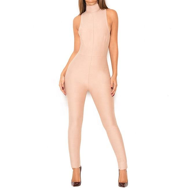 2019 sexy nightwear bandage jumpsuit rayon bandage dress in nude