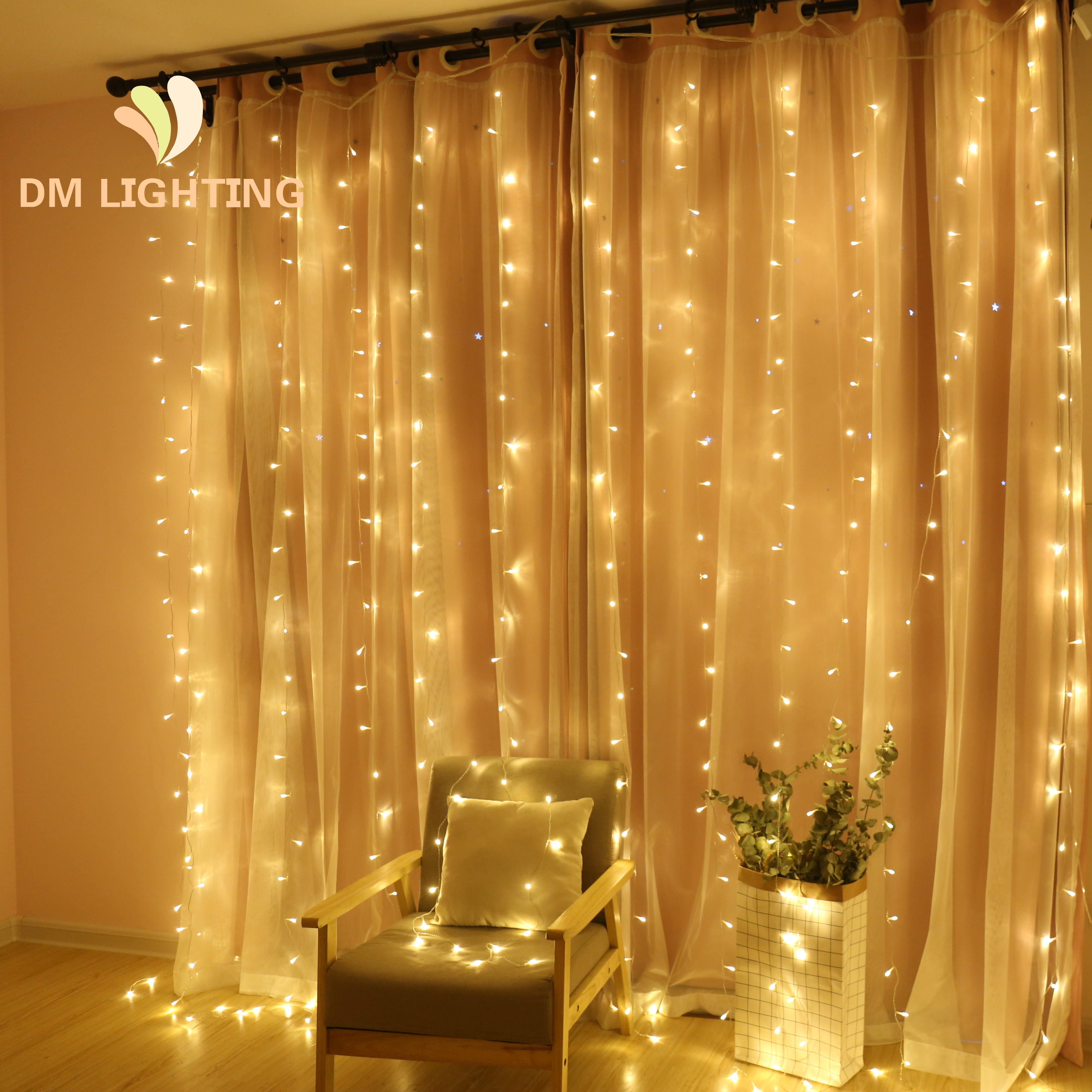 3*3M 8 Modes Waterproof Customized Fairy Led Curtain String lights for Outdoor Indoor Wedding Decor