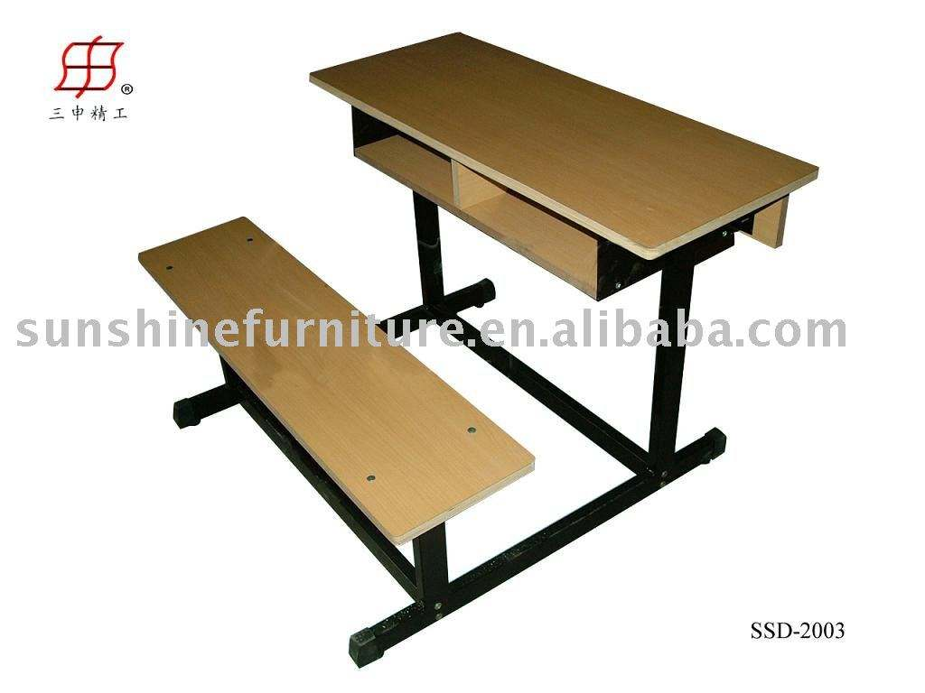 Double seater wooden iron frame School Desk bench